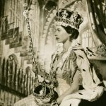 Queen Elizabeth II seated on the Throne at her Coronation, London
