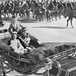 An escort forms as the Royal party boards the State landau, Parliament Hill, Ottawa