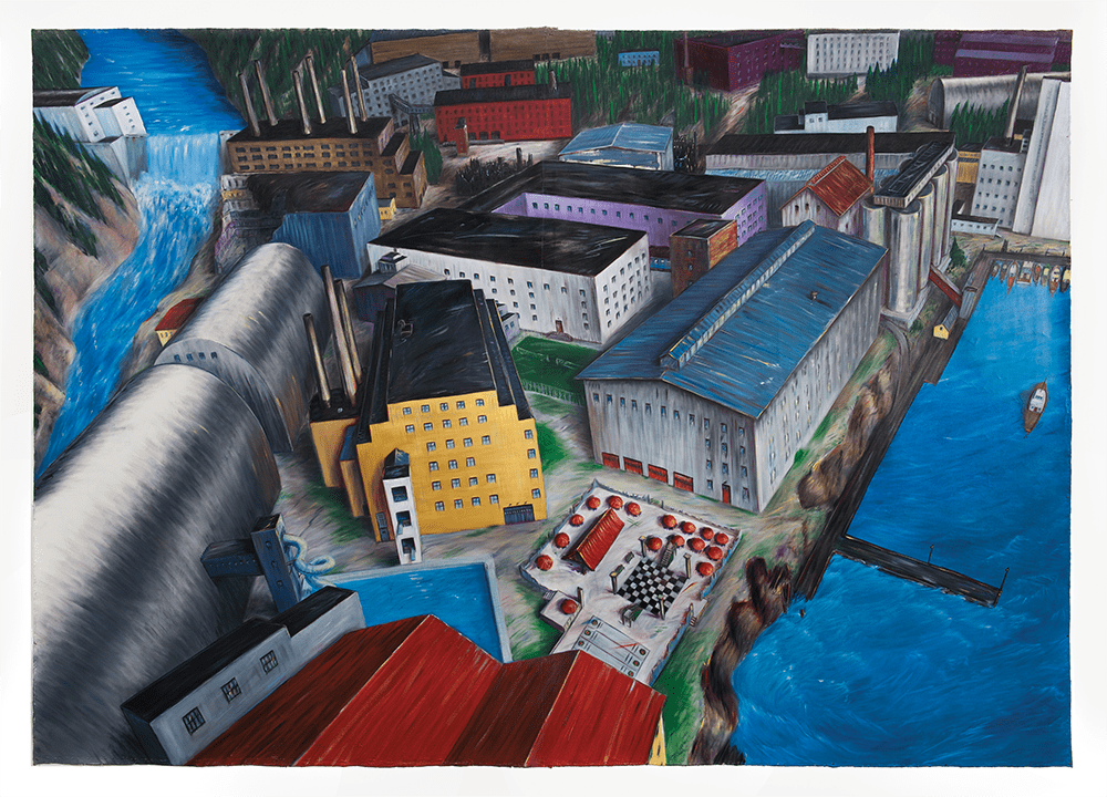 Eleanor Bond IV Converting the Powell River Mill to a Recreation and Retirement Centre. Winnipeg, MB — oil on canvas / huile sur toile — 1985